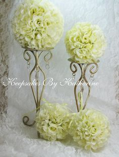 Yellow Rose Topiary Kissing Balls for your Wedding decorations by Keepsakes By Katherine