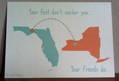 "Best friend prints, TWO prints, custom state to state, long distance, love across the miles 5"" x 7"" prints ((FREE U.S. shipping)). $22.00, via Etsy."