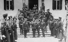 King George I of Greece visits the Bulgarian Tsar Ferdinand in the headquarters of the Bulgarian army