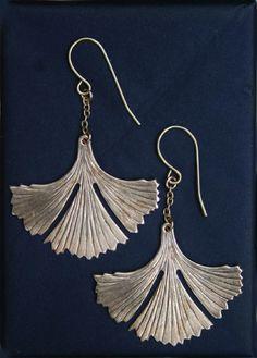 Art deco like, detailed vintage brass ginkgo leaf pendants on 14k gold fill earwires.