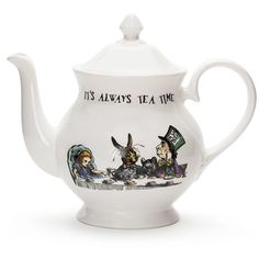 Mrs Moore's Vintage Store Alice in Wonderland Teapot (€74) ❤ liked on Polyvore featuring home, kitchen & dining, fillers, alice in wonderland, food and alice
