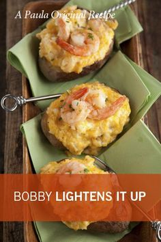 Check out what I found on the Paula Deen Network! Bobby's Lighter Spicy Shrimp Stuffed Potatoes http://www.pauladeen.com/bobbys-lighter-spicy-shrimp-stuffed-potatoes