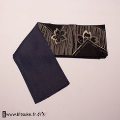 Hanhaba Obi noir motif floral kitsuke