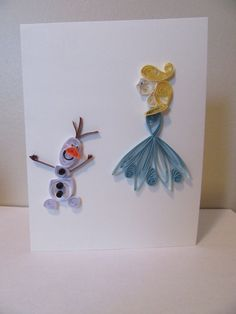 Handmade paper quilling frozen card, Olaf, Elsa, Kids Card, Blank Card, Birthday, Thank you, Get Well Card by MaritimeHandcrafts on Etsy