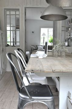 greige: interior design ideas and inspiration for the transitional home : Tolix grey and white..