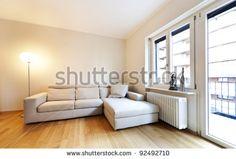 interior modern living room, parquet floors