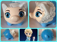 Alcancia Personalizada, Elsa Frozen. Pebble Painting, Pottery Painting, Diy Painting, Elsa Frozen, Creative Crafts, Creative Art, Pig Bank, Personalized Piggy Bank, Color Me Mine