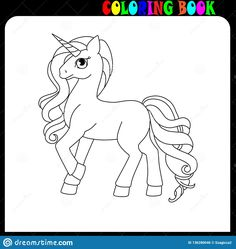 Illustration about Unicorn, coloring book for kids and older children. Outline drawing coloring page. Illustration of draw, unicorne, line - 136280046 Unicorn Outline, Coloring Books, Coloring Pages, Unicorn Kids, Unicorns And Mermaids, Outline Drawings, Eps Vector, Horns, Children
