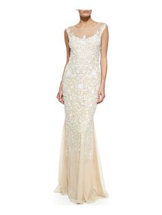 Badgley Mischka Floral-Embroidered Tulle Gown