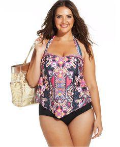 Becca ETC Plus Size Printed Tankini Top & Swim Brief Bottom - Swimwear - Plus Sizes - Macy's
