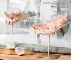 Display beautiful mineral specimens and other precious items at four different heights with these brass- plated iron display stands. Sold as a mixed casepack of four sizes. A low, elongated display stand has two prongs to hold longer mineral specimens.