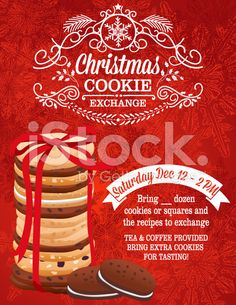 Christmas Cookie Exchange Party Invitation template with a stack of. Cookie Exchange Party, Christmas Cookie Exchange, Christmas Cookies, Christmas Dinner Invitation, Dinner Invitations, Christmas Illustration Design, Dessert Sushi, Modern Food, Food Icons