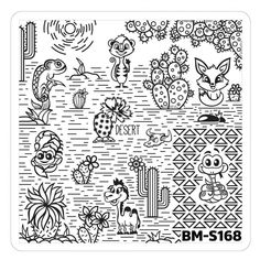 Nail Art Stamping Plates - Fuzzy and Ferocious: BM-S168, Desert Dwellers
