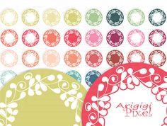 ornate flourish circles clip art set of 32 digital by ArigigiPixel, $3.50