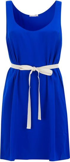 American Vintage Blue Waist Tie Silk Vest Dress in Blue