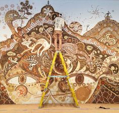 This dream-like mural is the result of two long weeks rubbing clay, mud and dirt, day and night into the walls and floor of Rice Gallery in Houston. Since 2008 Japanese artist Yusuke Asai has been creating these earth paintings. His latest one, titled Yamatane (meaning Mountain Seed in Japanese