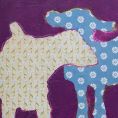 """Two Goat 8""""x 8"""" mixed media on panel"""