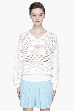 Chloe White Open-knit V-neck Sweater for women | SSENSE