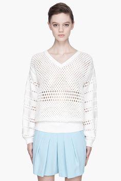 Chloe White Open-knit V-neck Sweater for women | SSENSE