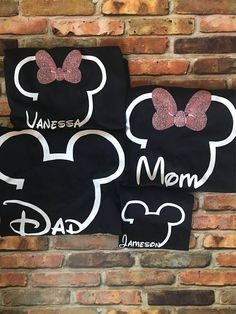 Disney Family Shirts Made with Heat transfer vinyl » Wash inside out on cold GENTLE WASH to give your item more longevity, lay flat to dry. DO NOT IRON on the design. Adult and kid sizes available >>Message me with the names that correspond with their sizes<< All shirts are