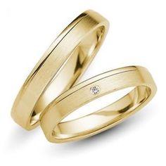 Trauringe-333er-Gelbgold-Brillant-0-01-ct-Eheringe-Hochzeitsringe-Gravur