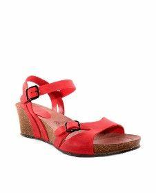 Sandalias cuña INTERBIOS rojo 5612
