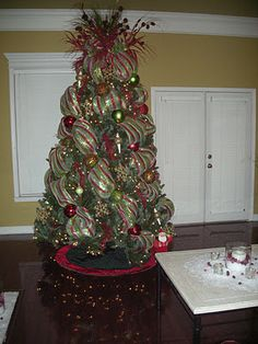 Christmas tree decorated with mesh