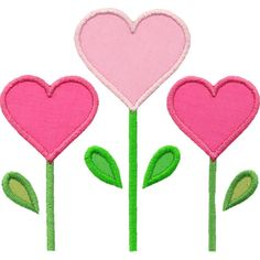 Three Heart Flowers Applique Design