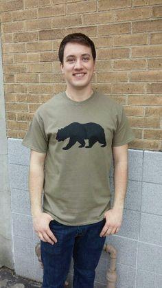 Men's T-shirt olive green- Short sleeve - spring style fashion @ Black Bear Trading Asheville N.C.