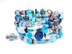 Beaded Wrap Bracelets, Memory Wire Bracelets, Ankle Bracelets, Crystal Bracelets, Bangles, Wire Jewelry, Boho Jewelry, Jewelry Crafts, Beaded Jewelry