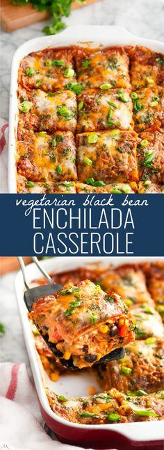Vegetarian Black Bean Enchilada Casserole – Aberdeen's Kitchen Dinner Vegetarian – Dinner Recipes Veggie Dishes, Veggie Recipes, Chicken Recipes, Cooking Recipes, Healthy Recipes, Hamburger Recipes, Cauliflower Recipes, Pork Recipes, Easy Recipes