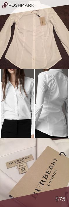 NWT Burberry Women's Dress Shirt Brand new with tags. Authentic guaranteed. Size 8 (size 6 also available) Burberry London Dress Shirt Burberry Tops Button Down Shirts
