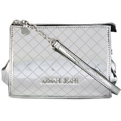 Armani Jeans Crossbody Pochette (179 AUD) ❤ liked on Polyvore featuring bags, handbags, clutches, silver, quilted purses, crossbody handbags, quilted crossbody, silver purse and quilted handbags