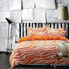 Zebra Print Orange Bedding Duvet Cover Set Kids Bedding Teen Bedding Dorm Bedding Gift Idea Full Size * Continue to the product at the image link.