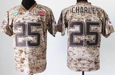 Nike Kansas City Chiefs Jersey 25 Jamaal Charles Salute to Service Digital Camo Elite NFL Jerseys
