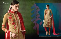 Red and Crean Georgette Salwar Suit  Top :- Georgette  Bottom/Inner :- Santoon  Dupatta :- Nazneen