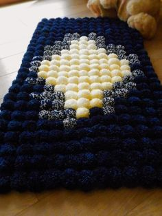 EXCLUSIVE Pom pom rug/handmade bathroom mat/home decor/pom pom baby carpet/nursery room/fluffy/navy yellow/kids room decor/ by ChunkyKnitworks on Etsy