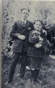 John Wayne (real name Marion Morrison, lol) with brother Robert and Pekingese via contrapposto | Tumblr