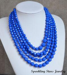 Blue Bubble Bib Necklace, Bead Necklace,Beadwork Necklace, Bride / Bridesmaid Necklace,Party Necklace,Wedding Necklace