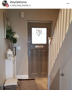 Elegant neutral entrance hall with bespoke stone staircase. Inspiring ideas for your small hallway, mudroom or entranceway. Create a welcoming and practical first impression in even the smallest space. Hallway Ideas Entrance Narrow, Small Entrance Halls, Entrance Hall Decor, House Entrance, Country Hallway, Hall Colour, Landing Decor, Hallway Colours, Flur Design