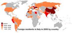 Es una mapa que demuestra los paises originales de los inmigrantes en Italia. Muchos personas de China y Africa norte estan en Italia.
