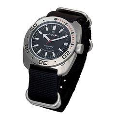Amazon.com: Vostok Amphibian Automatic Mens WristWatch Self-winding Military Diver Amphibia Ministry Case Wrist Watch #710662 (black): Beauty