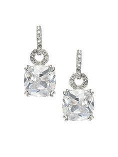 Cushion Cut Drop Earrings--  I love diamond earrings that dangle and catch the light. I want a pair of earrings like this instead of the usual stud diamonds
