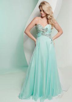 Beading Sweetheart Chiffon Blue Evening Dress 2013