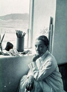 Georgia O'Keefe in her Ghost Ranch, New Mexico studio, 1953