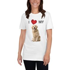 A new design t-shirt for women that are Golden Retriever lover and mom with the design I love my Golden Retriever dog. Dogs Golden Retriever, Retriever Dog, Dog Mom Shirt, Dog Wear, Dog Design, I Love Dogs, Graphic Tees, T Shirts For Women, My Love