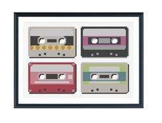 Retro Cassette Tapes Cross Stitch Pattern Instant Download