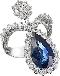 cluev - Сапфир - 8.96 карата. белое золото бриллианты.