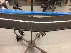 Mercedes SLS Carbon fiber Splitter cracked repair getting ready for final clear coat stage, another in process custom repair and restore project with our automotive team at CarbonWork for March 2017