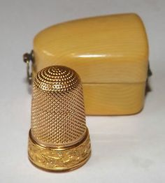 Antique 18ct Gold Thimble & Celluloid Faux Ivory Case Sewing 6 grams Not Scrap | eBay